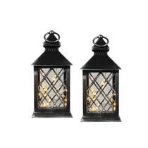 Conj. C/ 2 Lanternas Marroquinas Decorativas LED Pretas 27cm Verito -