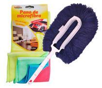 CONJ. Espanador Eletrostático Bralimpia Azul + Pano de Microfibra para limpeza a seco Kit c/ 4 cores sortidas 30 x 30 cm -