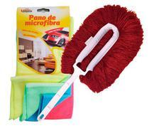 CONJ. Espanador Eletrostático Bralimpia Vermelho + Pano de Microfibra para limpeza a seco Kit c/ 4 cores sortidas 30 x 30 cm -