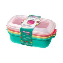 Conjunto 03 Potes -1,3 litros Plástico-Cores Verde/Amarelo/Vermelho -SANREMO -
