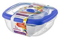 Conjunto 03 Potes -2,7 litros+920ml+280ml -Quadrado Plástico-Cor Azul-SANREMO -