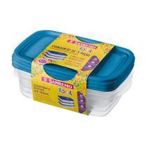 Conjunto 03 Potes-785 ml Retangular Plástico-Cor Azul-SANREMO -
