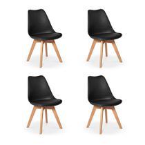Conjunto 04 Cadeiras Eames Wood Leda Design - Preta - Império Brazil Business