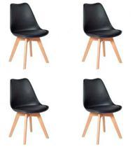 Conjunto 04 Cadeiras Eames Wood Leda Design - Preto - Art