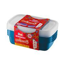 Conjunto 04 Potes Plásticos-1,8 Litros cada-Cor Azul-SANREMO -