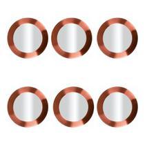 Conjunto 06 Sousplats em Aço Inoxidavel com Borda Rose Gold 33cm Luxo Requinte Mesa Posta Premium - Mundiart