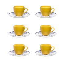 Conjunto 06 Xícaras Grandes Chá 200ml Coup Lisboa Porcelana Amarela - Oxford