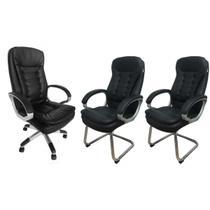 Conjunto 1 Cadeira Presidente e 2 Cadeiras interlocutores em Couro PU Pelegrin PEL-1693H/V -