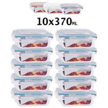 Conjunto 10 Potes Vidro Hermético mantimentos marmita 370ml - Univendas