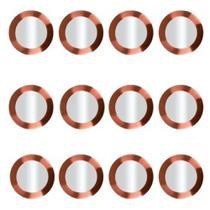 Conjunto 12 Sousplat em Aço Inoxidavel com Borda Rose Gold 33cm Luxo e Requinte Mesa Posta Premium - Mundiart