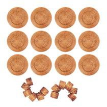 Conjunto 12 Sousplats em Rattan e Bambu e 12 Anéis Para Guardanapo Artesanal Rústico Mesa Posta - Mundiart