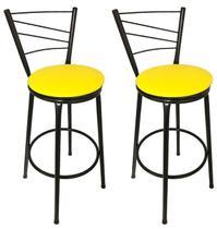 Conjunto 2 Banquetas Clássica Tubo Preto com Assento Amarelo - Itagold - 24