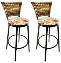 Conjunto 2 Banquetas Eleganza Cappuccino Assento Floral Red - 24