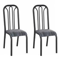 Conjunto 2 Cadeiras Aço Lion Clássica Ciplafe Preto/Riscado Preto -