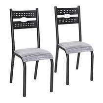 Conjunto 2 Cadeiras Aço Luna Clássica Ciplafe Preto/Branco -