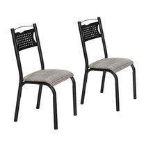 Conjunto 2 Cadeiras Aço Poeme Clássica Ciplafe Preto/Junco Manteiga -
