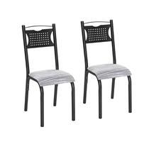 Conjunto 2 Cadeiras Aço Poeme Clássica Ciplafe Preto/Riscado Branco -