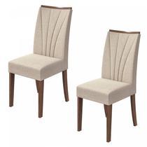 Conjunto 2 Cadeiras Apogeu Móveis Lopas Imbuia Naturale/Linho Rinzai Bege -