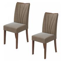 Conjunto 2 Cadeiras Apogeu Móveis Lopas Imbuia Naturale/Suede Ani Bege -