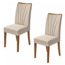 Conjunto 2 Cadeiras Apogeu Móveis Lopas Rovere Naturale/Linho Rinzai Bege -
