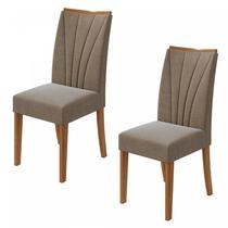 Conjunto 2 Cadeiras Apogeu Móveis Lopas Rovere Naturale/Suede Ani Bege -