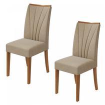 Conjunto 2 Cadeiras Apogeu Móveis Lopas Rovere Naturale/Velvet Naturale Creme -