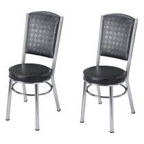 Conjunto 2 Cadeiras Ca-997 Novabras Cromado/Preto Quadriculado -