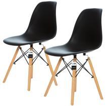 Conjunto 2 Cadeiras Charles Eames Preta - KzaBela - Kza Bela