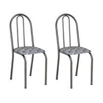 Conjunto 2 Cadeiras Éos Cromo Preto e Estampa Capitonê - Artefamol