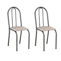 Conjunto 2 Cadeiras Éos Cromo Preto e Estampa Rattan - Artefamol