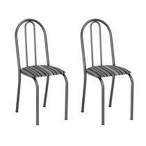 Conjunto 2 Cadeiras Éos Cromo Preto e Preto Listrado - Artefamol