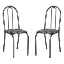 Conjunto 2 Cadeiras Éos Preto Flor - Artefamol