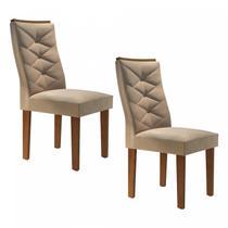 Conjunto 2 Cadeiras Estofadas Germany Espresso Móveis Chocolate/Suede Pena -