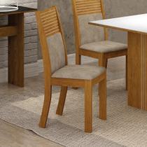 Conjunto 2 Cadeiras Estofadas Havaí Imbuia/Pena Caramelo - Leifer