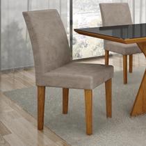 Conjunto 2 Cadeiras Estofadas Olimpia Imbuia Mel/Pena Caramelo - Leifer
