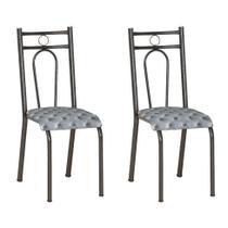 Conjunto 2 Cadeiras Hanumam Cromo Preto e Estampa Capitonê - Artefamol