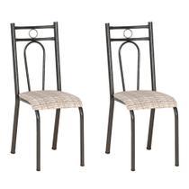 Conjunto 2 Cadeiras Hanumam Cromo Preto e Estampa Rattan - Artefamol