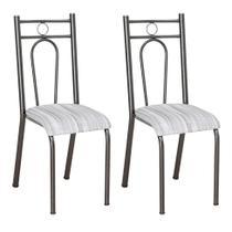 Conjunto 2 Cadeiras Hanumam Cromo Preto e Linho - Artefamol