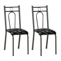 Conjunto 2 Cadeiras Hanumam Cromo Preto e Preto Flor - Artefamol