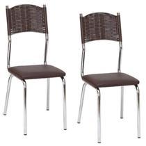 Conjunto 2 Cadeiras Juliana Cromado Fil Móveis Cromado/Marrom -