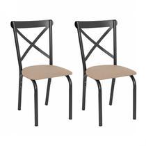 Conjunto 2 Cadeiras Karina Ciplafe Craqueado Preto/Linho Bege -