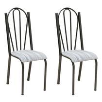 Conjunto 2 Cadeiras Mnemónise Cromo Preto e Linho - Artefamol