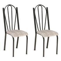 Conjunto 2 Cadeiras Mnemósine Cromo Preto e Estampa Rattan - Artefamol