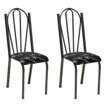 Conjunto 2 Cadeiras Mnemósine Cromo Preto e Preto Flor - Artefamol