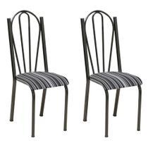 Conjunto 2 Cadeiras Mnemósine Cromo Preto e Preto Listrado - Artefamol