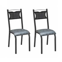 Conjunto 2 Cadeiras Poeme Ciplafe Craqueado Preto/Grafite -