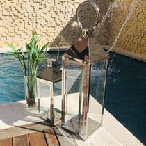 Conjunto 2 Lanterna Marroquina Decorativa Prata 68cm/46cm - Ef