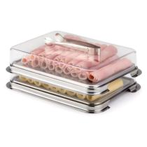 Conjunto 2 Porta Frios Vision Com Pinça  Para Geladeira Top - Forma Inox