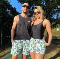 Conjunto 2 Shorts Casal Kit Estampado Filhos Pais Verão calção de banho carnaval iguais combinando praia férias cerveja - Mayamoda