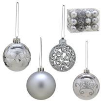 Conjunto 24 Bolas Para Arvore Luxo 7cm Prata Espressione Christmas -